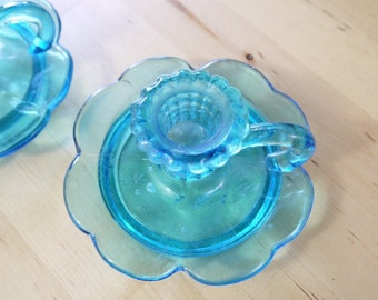 Vintage Blue Glass Candle Holder taper candle