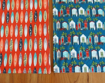 Summer Placemats (2) Surfboards Beach Huts in Red and Blue, Cloth Reversible Table Mat, Summertime Beach Surf Decor, Riley Blake Offshore