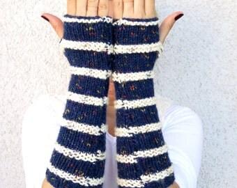 Fingerless Gloves, Long Gloves, knitted gloves, arm warmers fingerless mittens,  Striped Fingerless Gloves, boho fashion.