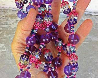 Super long Vendome purple hot pink flapper necklace 1960s art deco style signed designer