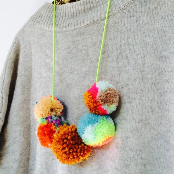 TWIRL Wool Baby Babies Toddler Kids Children Fun Party Festival Dressing Up Pom Pom Necklace on Elastic One Size