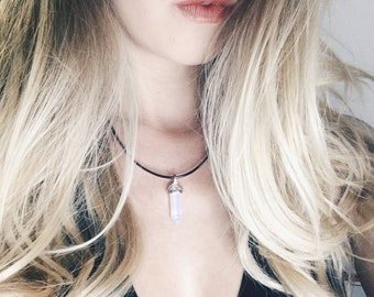 Opal quartz crystal necklace, quartz, healing stone, boho, adjustable
