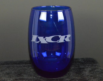 "IXCR 5"" tall blue glass"