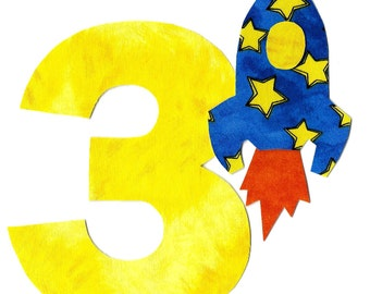 DIY iron on number applique pick any number plus rocket - birthday, anytime