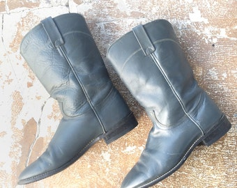 50% OFF Vtg 70s Gray Acme Rancher Boots • Broken In Round Toe Cowboy Boots - M 8.5 | W 9.5