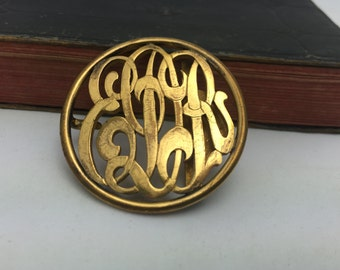 Vintage Monogrammed Belt Buckle initials buckle Cross Belt Buckle