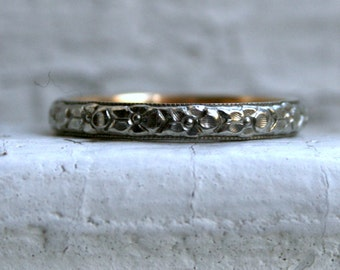 RESERVED - Lovely Vintage Floral 18K White and Yellow Gold Wedding Band.