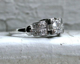Vintage Platinum Diamond Art Deco Ring Engagement Ring - 1.00ct