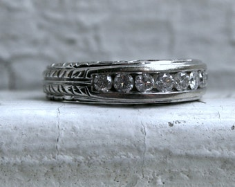 Vintage Channel 14K White Gold Diamond Wedding Band with Carved Shank- 0.84ct