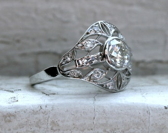 Intricate Vintage Platinum Diamond Art Deco Engagement Ring - 1.16ct