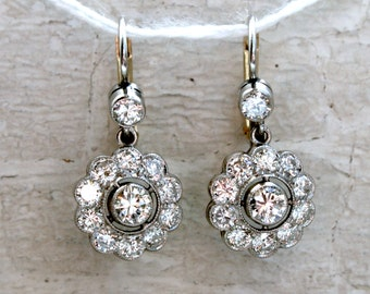 Beautiful Vintage 18K White/ Yellow Gold Diamond Cluster Earrings - 2.20ct.