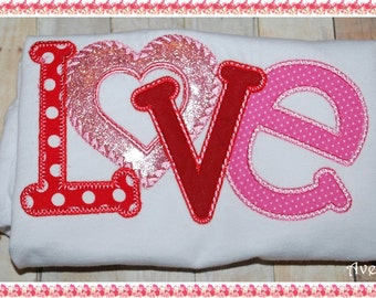 Love Valentines Day Embroidered Shirt