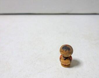 0.6in Vintage Japanese Miniature Wood KOKESHI Doll