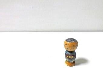 1inch Vintage Japanese Miniature Wood KOKESHI Doll