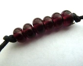 handmade lampwork glass purple spacer beads UK