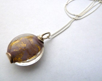 handmade lampwork pendant chain necklace, sterling silver UK
