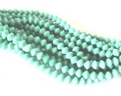 Czech Glass Beads - Opaque Turquoise Bicone Beads, 4x6mm - 25 beads