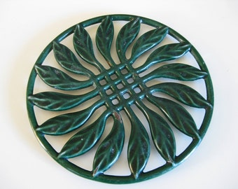 green enamel trivet heavy vintage French cast iron stove top pot stand