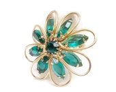 Vintage Brooch Green Marquise Open Back Rhinestones