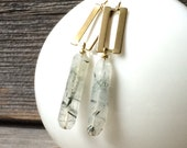 brass rectangluar chain and rutilated quartz crystal earrings