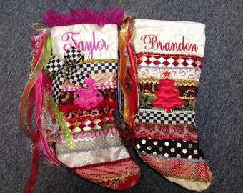 Custom hand made Christmas stockings with Makenzie Child's Accent ribbon