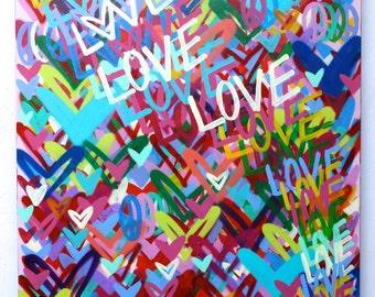 ORIGINAL Free Shipping Love Peace signed street art contemporary acrylic medium colorful graffiti modern nyc painting pop art Chris Riggs