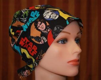 Tie Back Surgical Scrub Hat/Chemo Hat--Star Wars