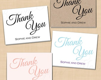 Change All Colors! Calligraphy Thank You Cards (Fold to 5.5x4.25): Text-Editable in Microsoft® Word, Printable, Instant Download