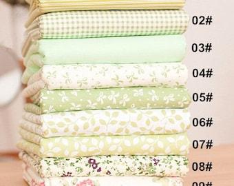 "Green Bundle Green Cotton Fabric Bundle- Green Fabric Fat Quarter Bundle, 9 Fat Quarters Pieces each 13""X19""(13x19cm) (QT672-M)"