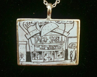 Jthm necklace recycled comic book taco smell Johnny the homicidal maniac handmade pendant on silver chain spooky jhonen Vasquez goth jewelry