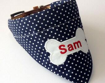 Personalised Dog Bandana - Navy & White Polka Dot