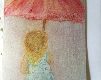 Original Folded Art Greeting Card/Art Card/Greeting Card/Shower Card/Little Girl Umbrella/FREE SHIPPING