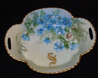 Exquisite Antique Circa 1910's Haviland Limoges France Berry Dish Hand-painted with 22k Gold Trim Delicate Floral Pattern