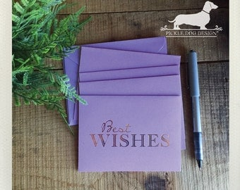 CLEARANCE! Best Wishes. Note Cards (Set of 2) -- (Vintage-Style, Purple, Lavender, Gold Foil, Baby Shower, Congratulations, Bridal Shower)