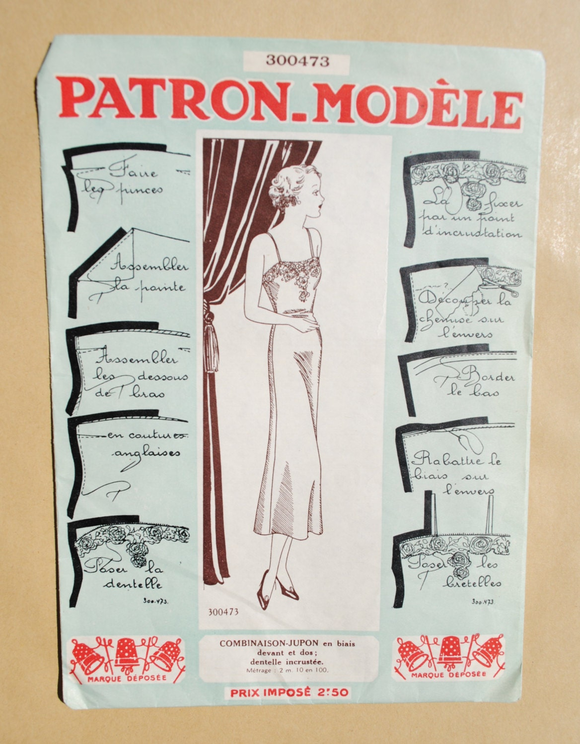 Vintage french sewing pattern 1930 39 s patrons mod les for Patron tablier vintage