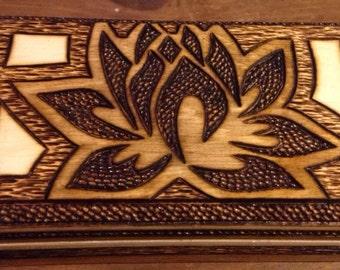 Lotus Flower Wood Burned Wooden Box