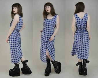 90s Grunge Blue Plaid Button Through Tie Back Maxi Dress M