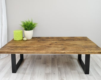 Industrial Reclaimed Coffee Table- upcycled wood table on Steel Base