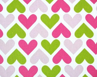 SALE**Single Pillow Cover 18x18 inch - I Heart U in Candy Pink/Chartreuse
