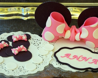 Edible Fondant Minnie Mouse Inspired Cake Decorating Kit