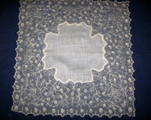 On Hold for Sally Lace Wedding Handkerchief Hankie Embroidered Cream Net Lace Embellished Antique Keepsake for the Bride on her Wedding Day