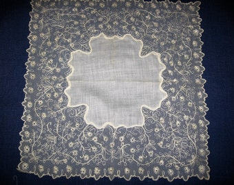 Lace Wedding Handkerchief Hankie Embroidered Cream Net Lace Embellished Antique Hanky Heirloom Keepsake for the Bride on her Wedding Day