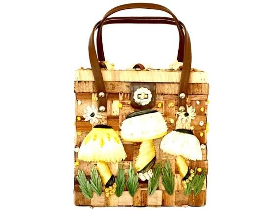 Vintage Basket Weave Raffia Mushroom Shopper Tote