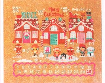 Cute modern cross stitch pattern/kit - Christmas on Gingerbread Lane by the Frosted Pumpkin Stitchery, Christmas cross stitch, 14 CT