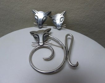 Vintage Mexican Sterling Modernist Fox Brooch & Earrings Signed Mid Century Deco