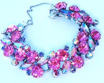 Juliana D & E Pink AB Rhinestone Bracelet