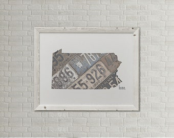 Pennsylvania Home Print | Pennsylvania State Outline | Vintage License Plate Photograph | Pennsylvania State Pride Home License Plate Art
