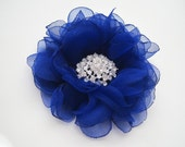 Hair Clip Royal Cobalt Blue Chiffon Flower Wedding Bride Bridesmaid Mother of the Bride Prom with Rhinestone Accent Choose Clip or Brooch
