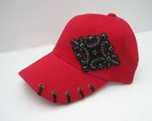 Adorable Red with Black Stitched Bill Trucker Baseball Cap Hat with a Beautiful Black Beaded Appliqué Accent
