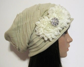 Oatmeal Tan Knit Slouch Beanie Winter Hat with Ivory Chiffon Flowers and a Pearl and Rhinestone Accent Winter Hats Accessories